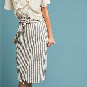 (2) Anthropology Striped Wrap Pencil Skirt